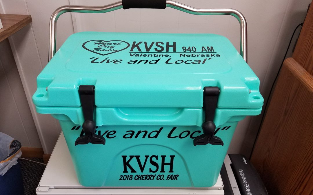 KVSH Radio giving away cooler and hundreds of dollars in prizes at County Fair.